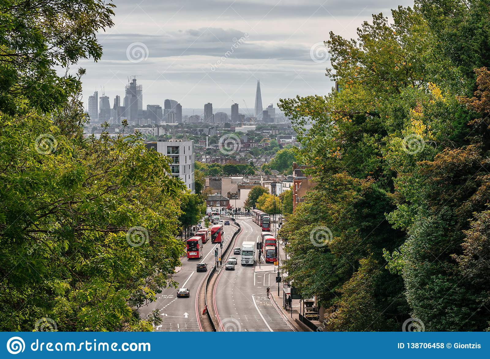 London-Ansicht von der Torbogen Hornsey-Wegbrücke