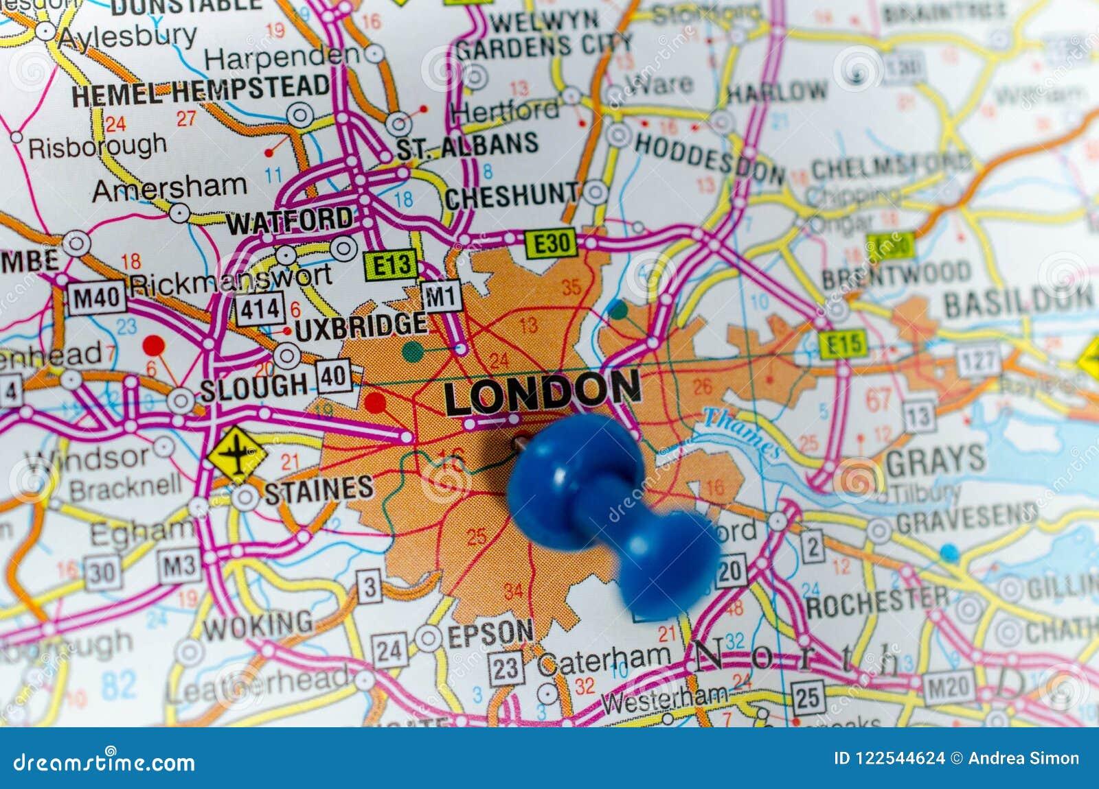 Karte London.London Auf Karte Stockfoto Bild Von Stoß Cartography 122544624