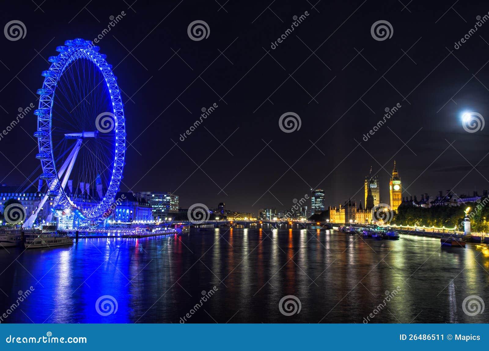 London-Auge auf einer Vollmondnacht