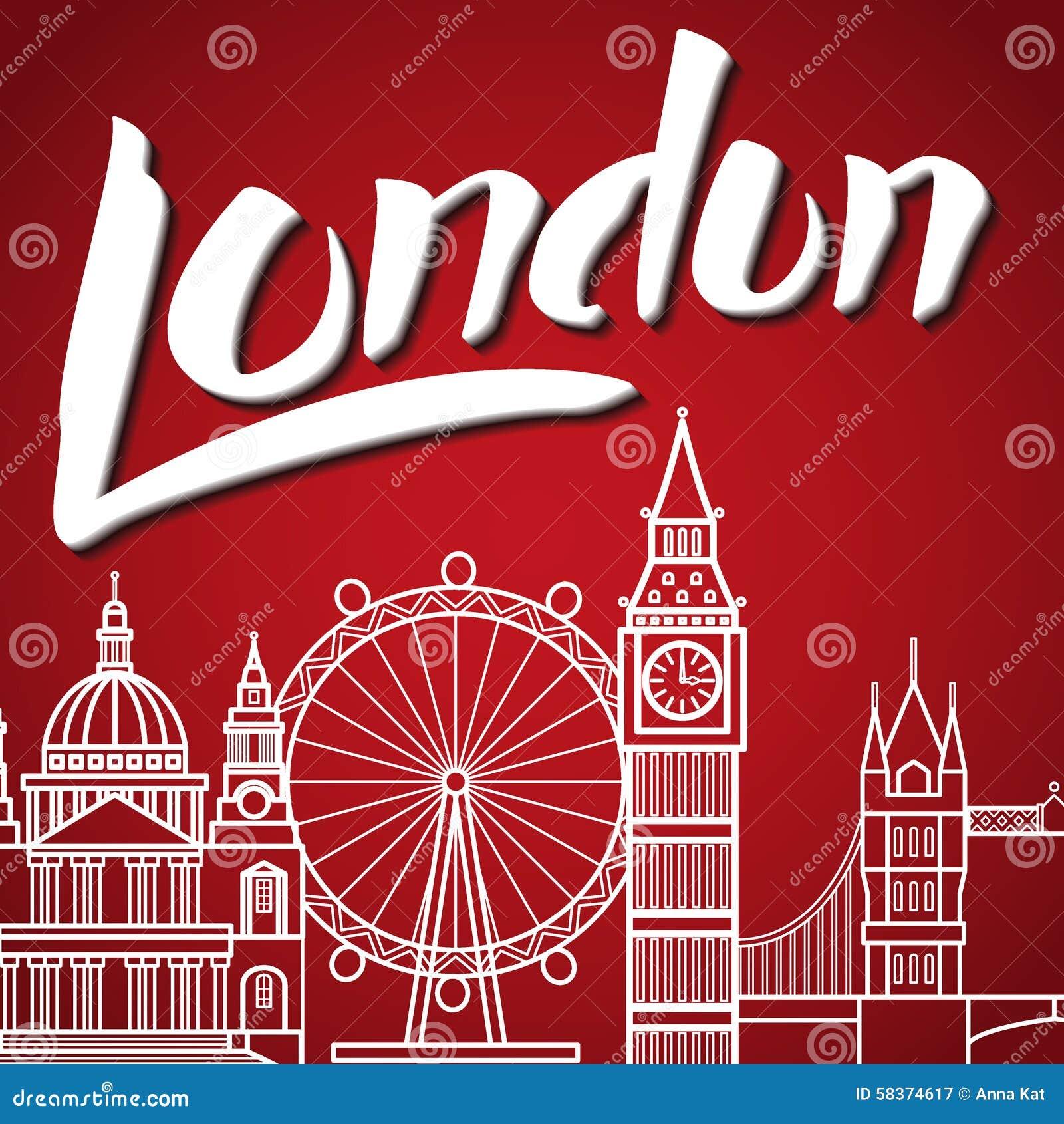 London Backgound Lettering Stock Vector Image 58374617