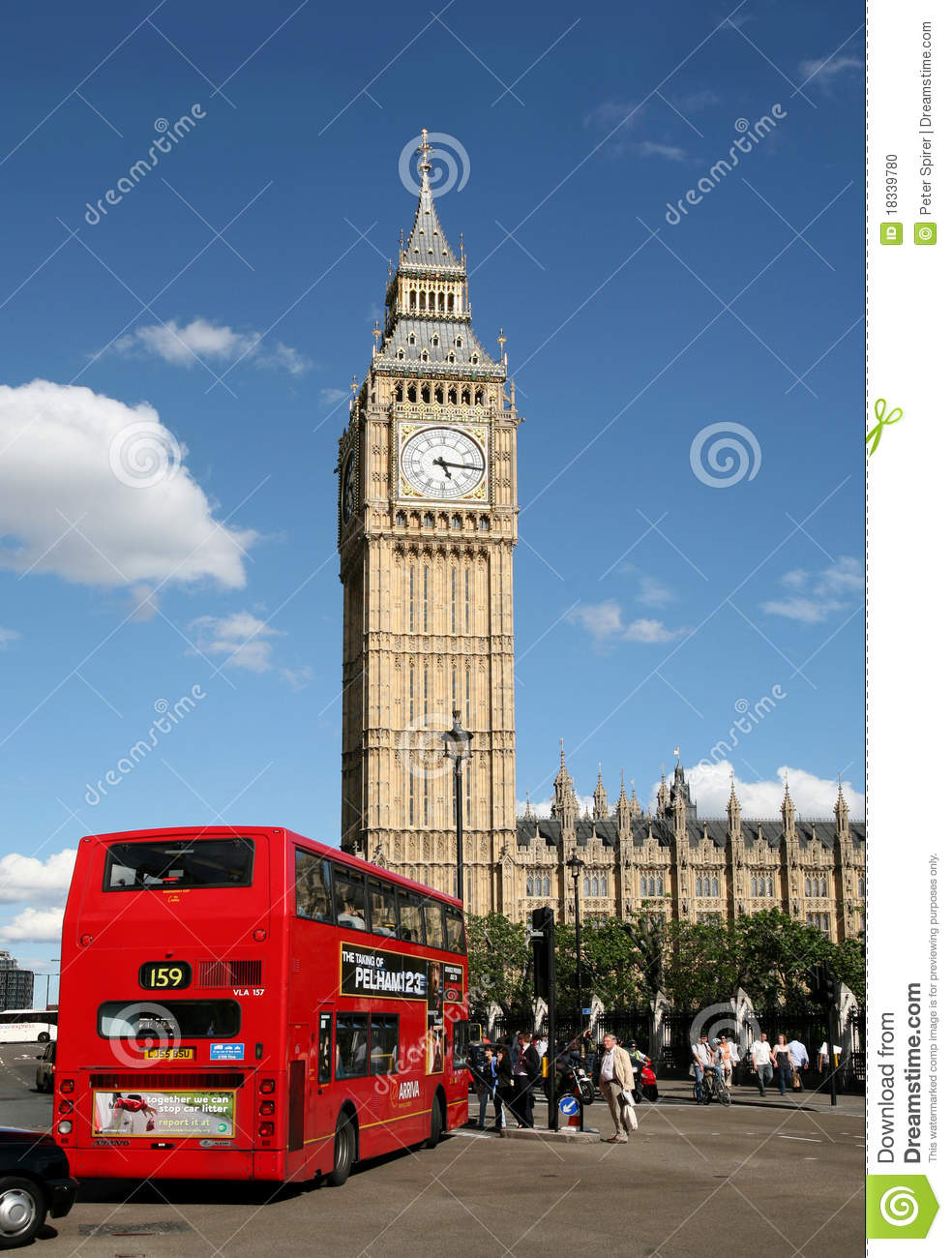 london  big ben and double decker bus editorial image