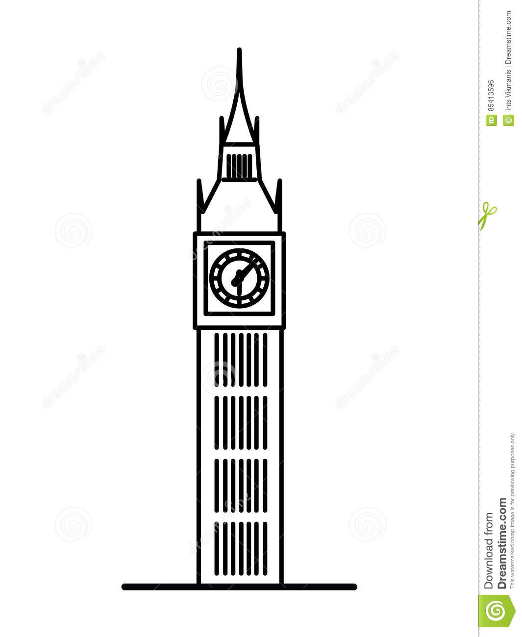 london big ben linear illustration stock vector illustration of rh dreamstime com big ben london clipart free big ben clipart black and white