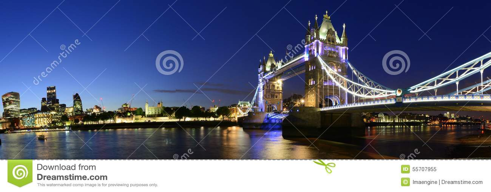 London Bridge over Thames river night panorama, UK