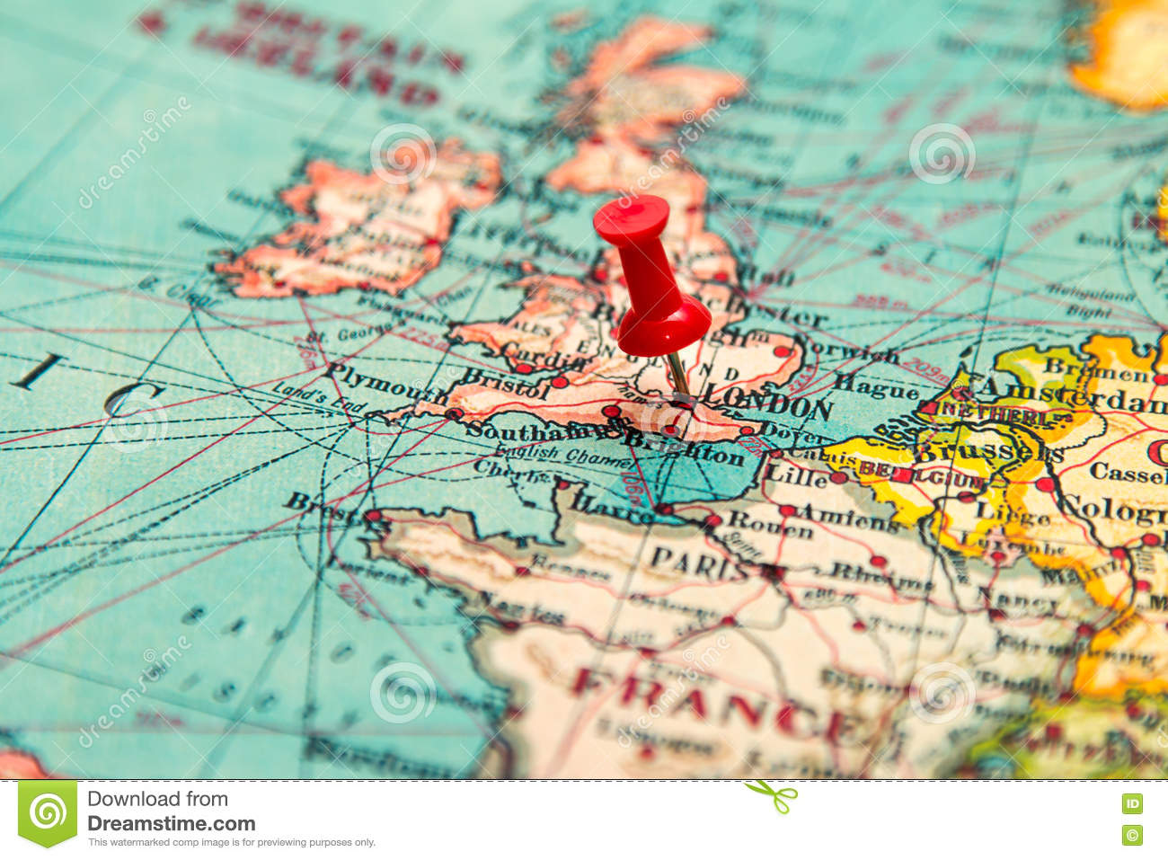 Map Of Europe And The Uk.London Britain U K Pinned On Vintage Map Of Europe Stock Image