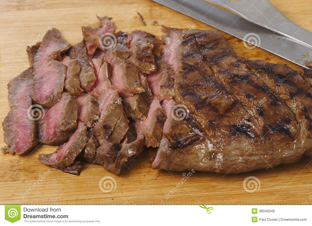 Marinaded flank steak, or London broil, sliced thinly against the ...