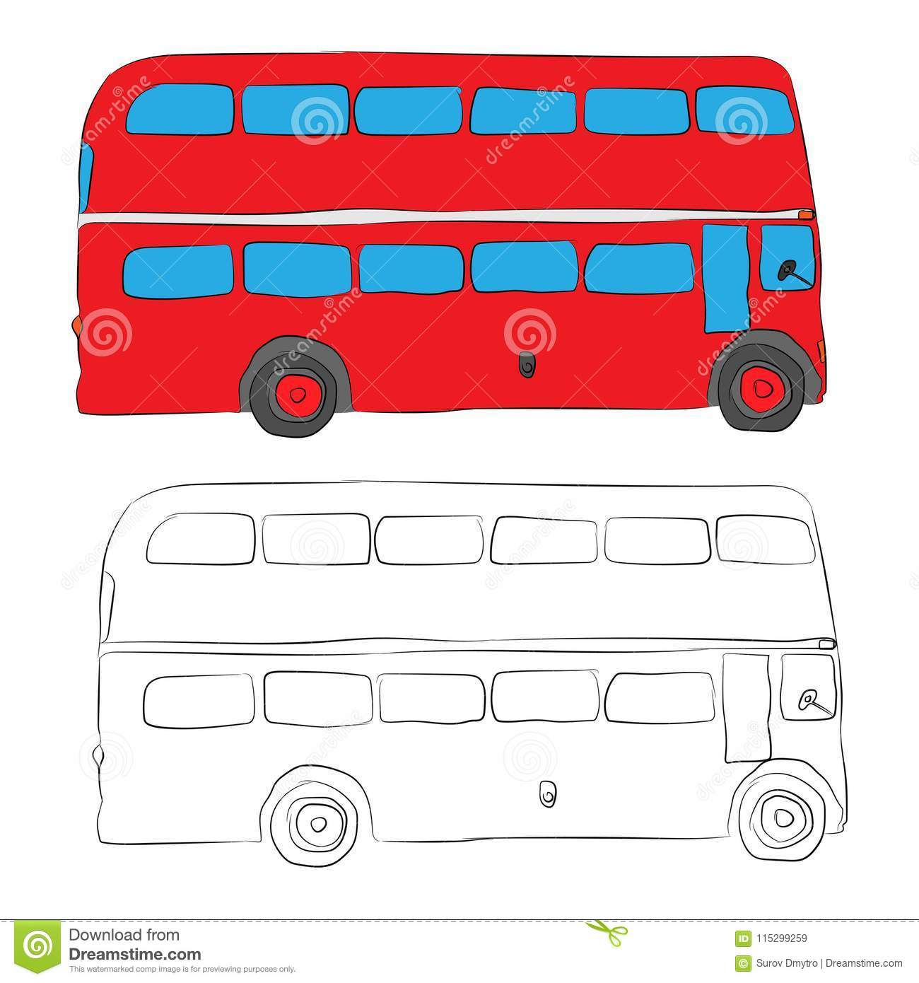 London bus contour drawing in pencil stock illustration