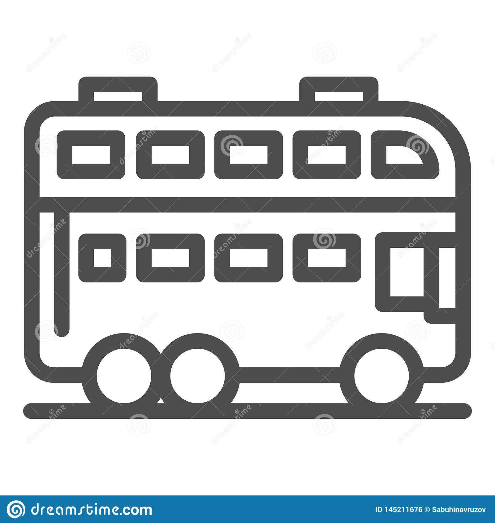 London bus line icon. Double decker bus vector illustration isolated on white. Travel outline style design, designed for
