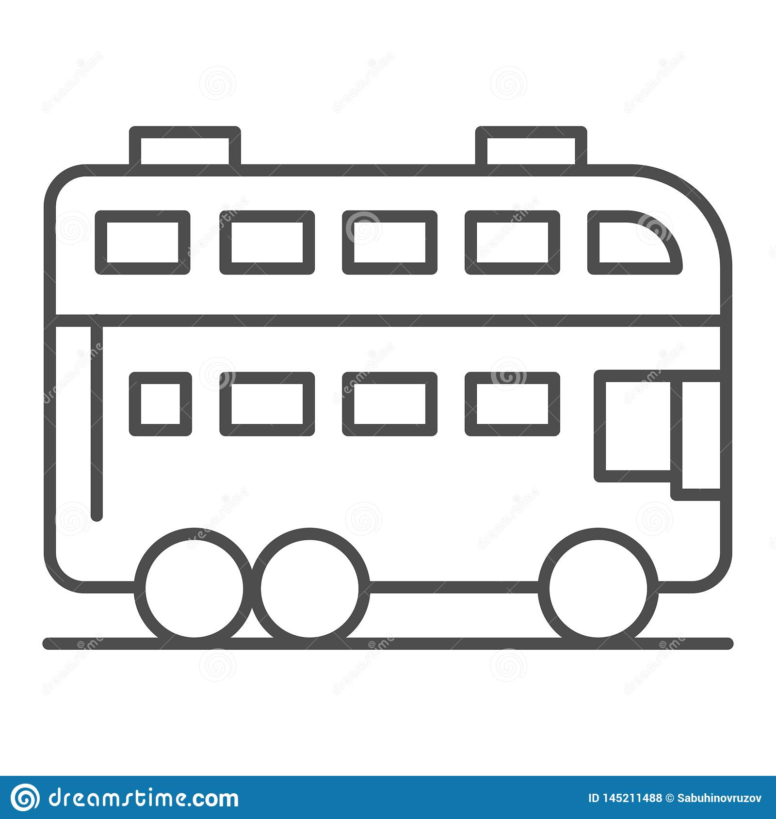 London bus thin line icon. Double decker bus vector illustration isolated on white. Travel outline style design
