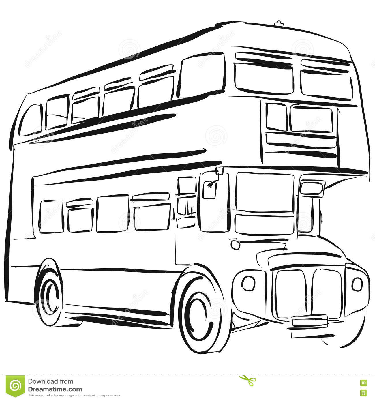 Line Drawing Bus : London bus vector drawing stock illustration of