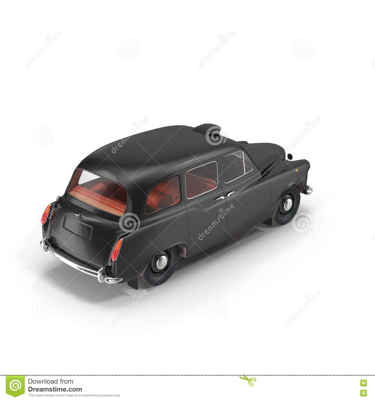 London cab isolated on white 3D illustration