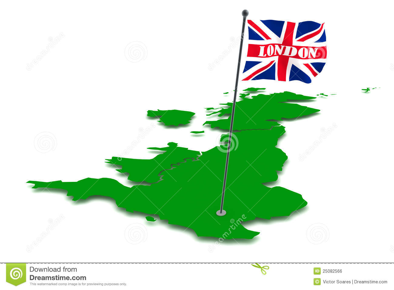 London On The Map Of England.London Capital Of England Stock Illustration Illustration Of Flag