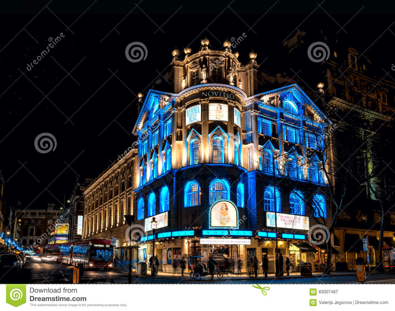 London Christmas Lights At Novello Theatre Editorial Photography