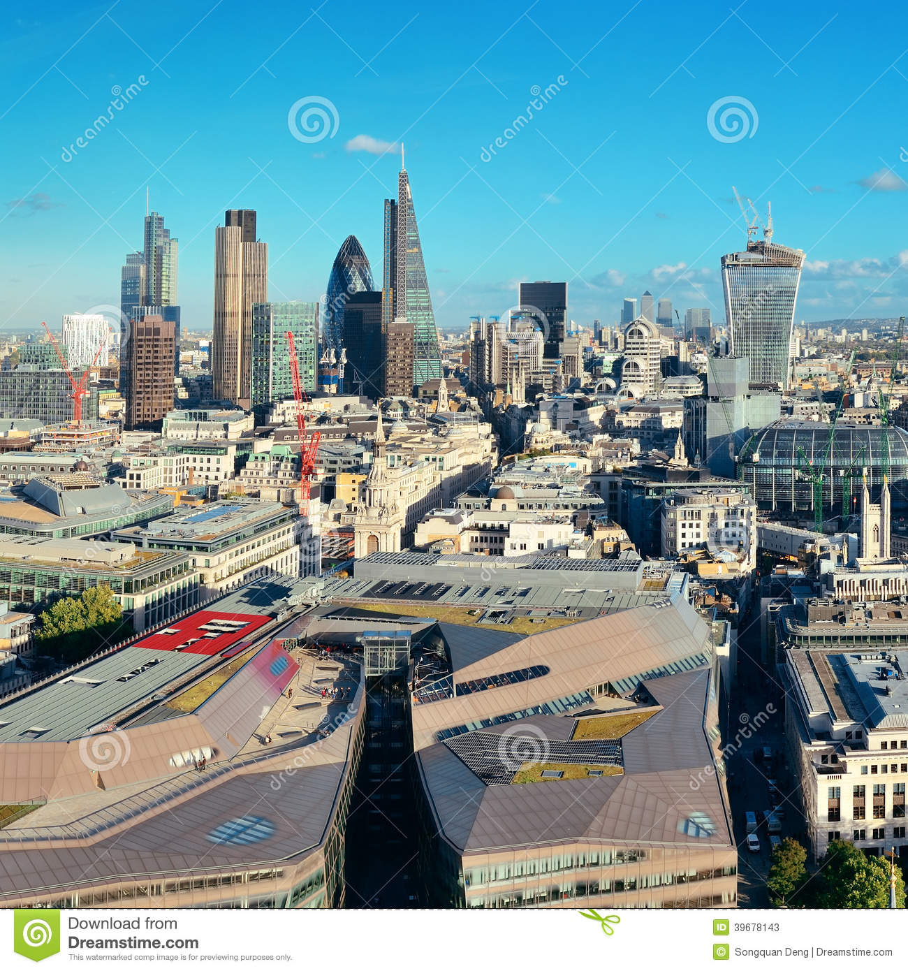 Urban View: London City Rooftop Stock Photo