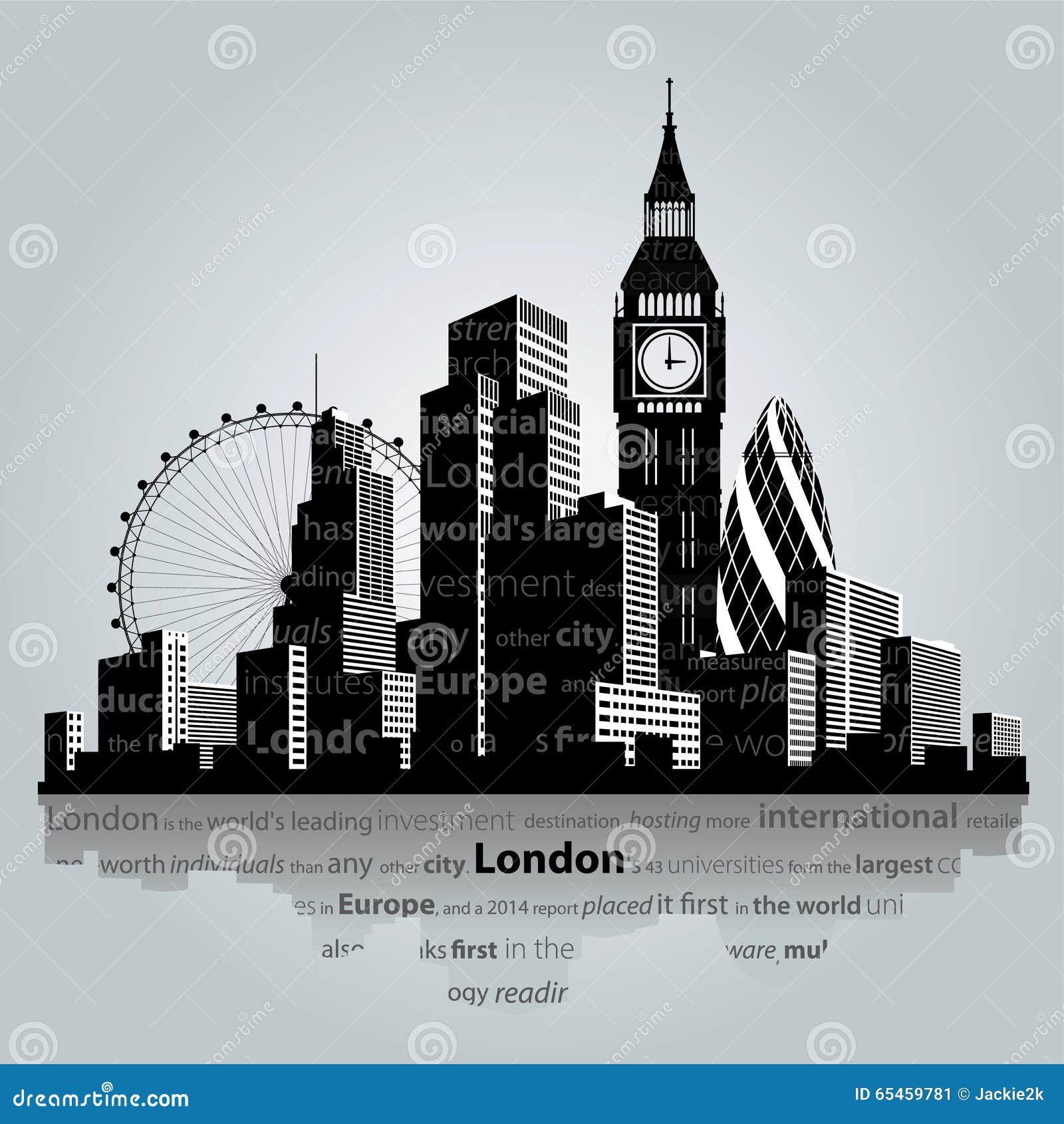 London city silhouette. stock vector. Illustration of