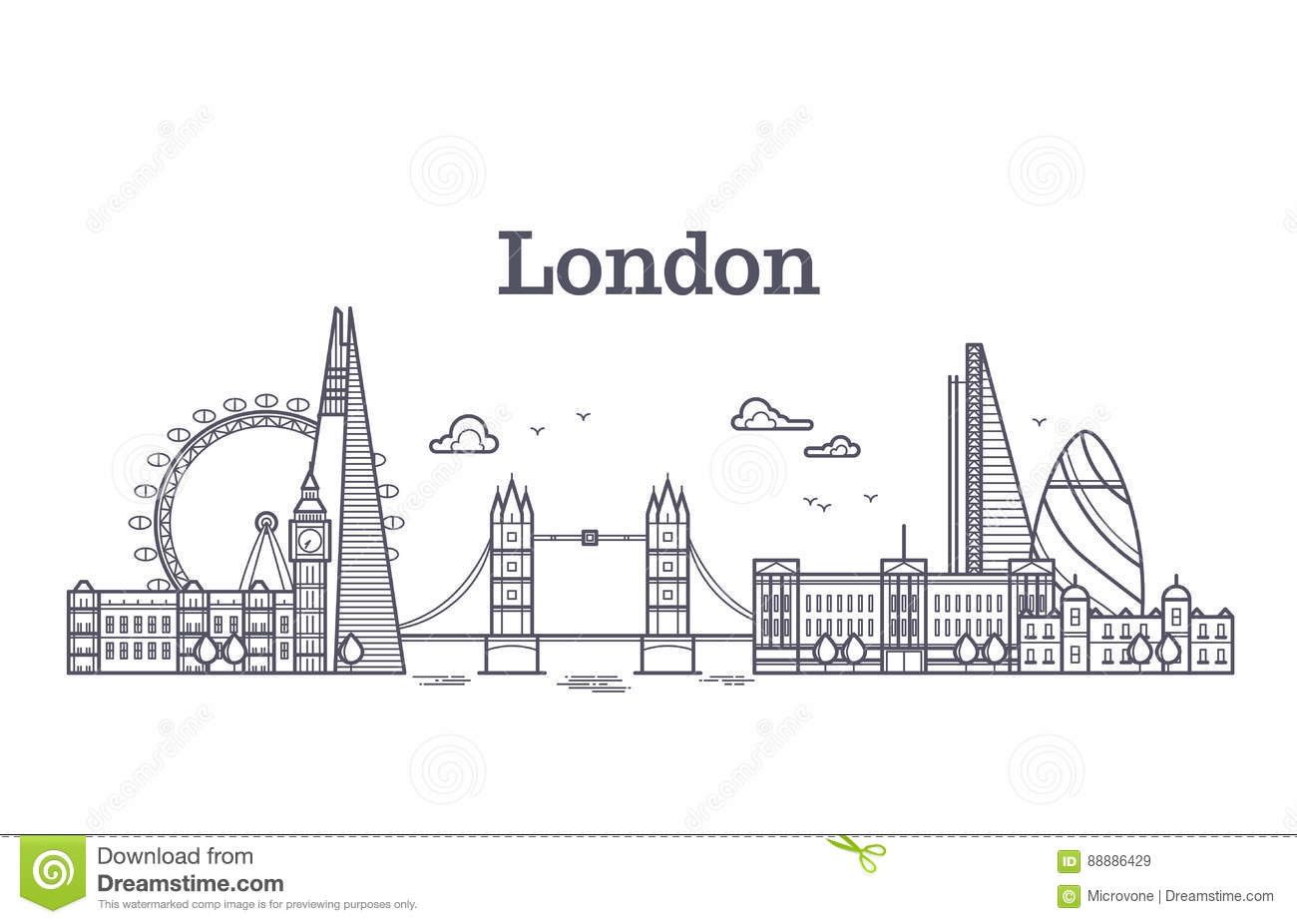 Line Drawing Tattoos London : London city skyline with famous buildings tourism england
