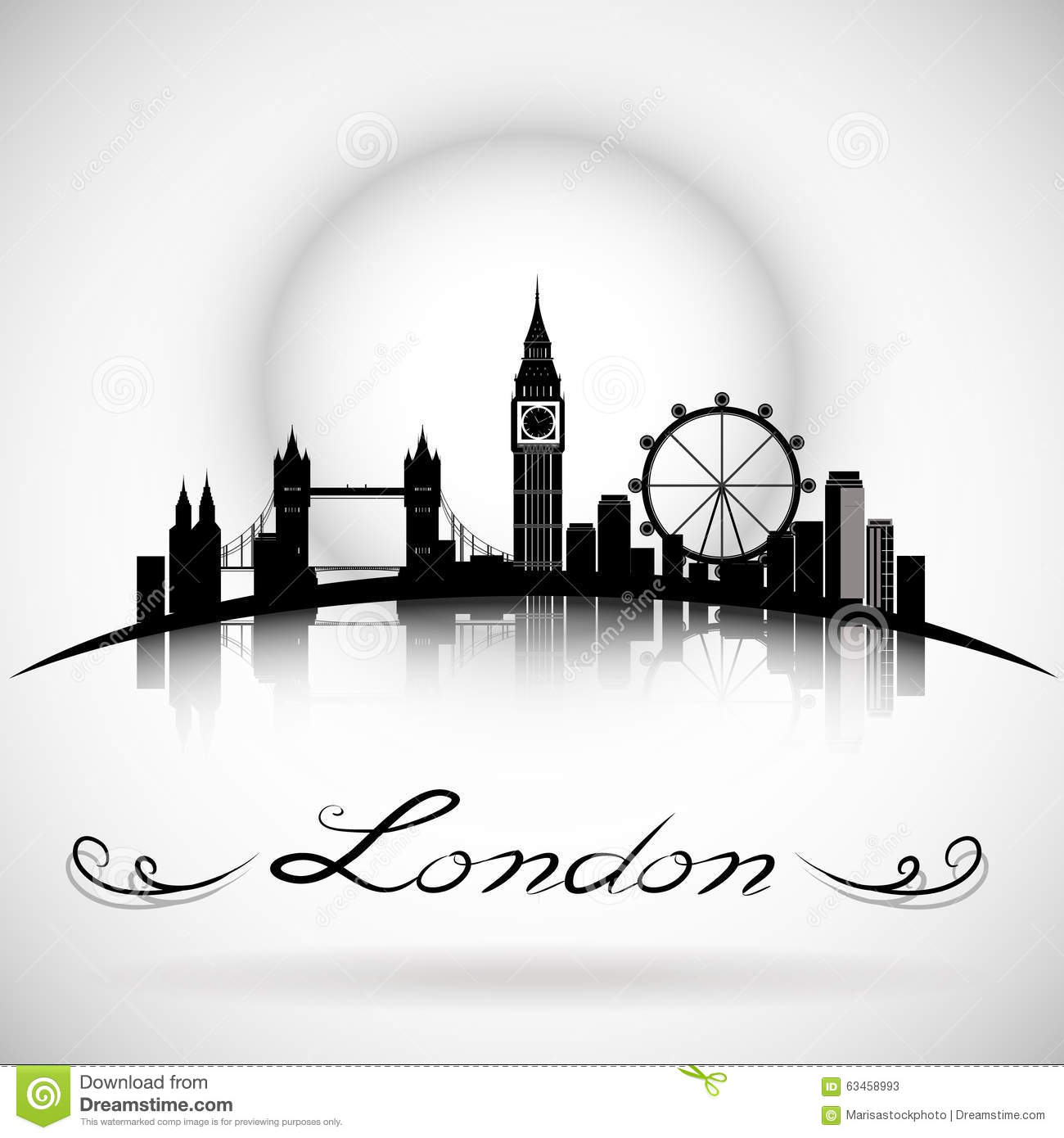 London City skyline silhouette background with Typographic Design. eps10 vector
