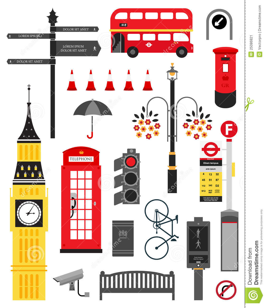 London City Street Icon Set Stock Image - Image: 25086821
