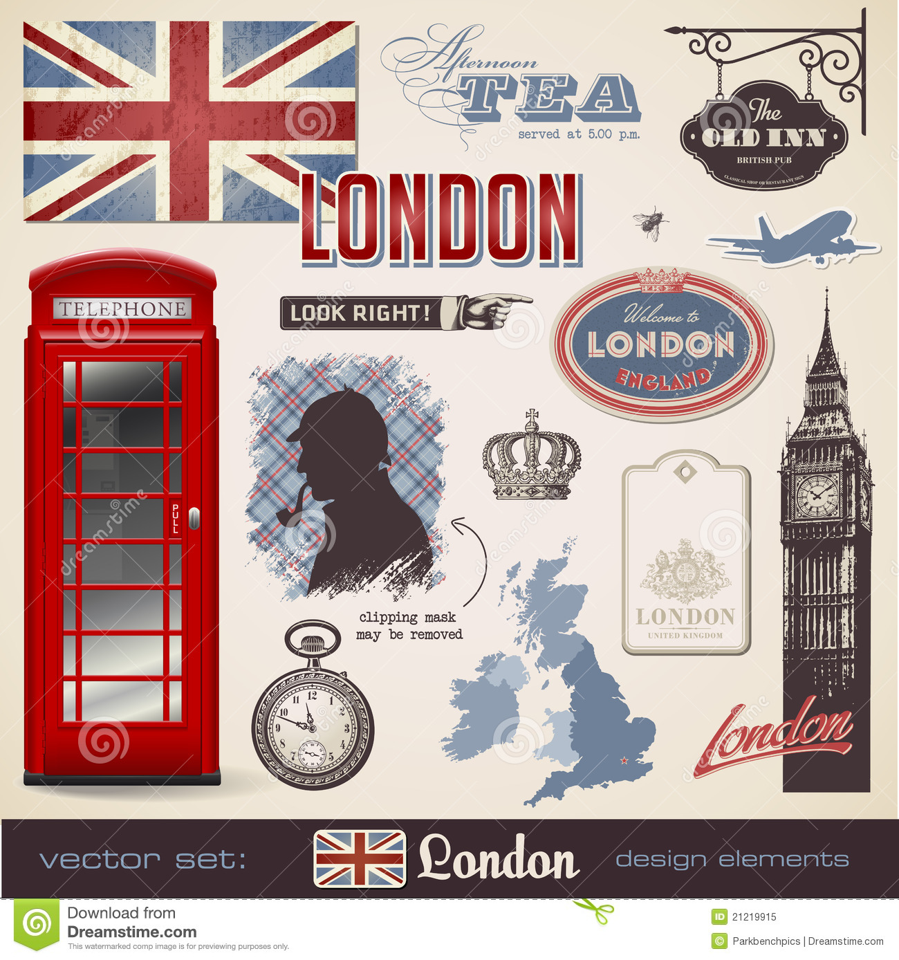 London Design Elements Royalty Free Stock Photo - Image: 21219915