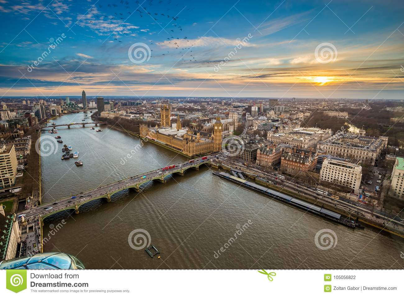 London, England - Aerial view of central London, with Big Ben, Houses of Parliament, Westminster Bridge