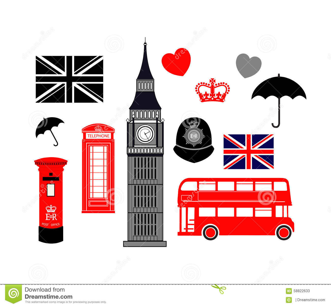 london england icon collection stock vector illustration of double