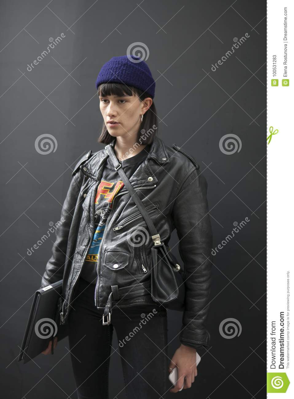 7d587633f13 A Guest Wearing Black Leather Jacket