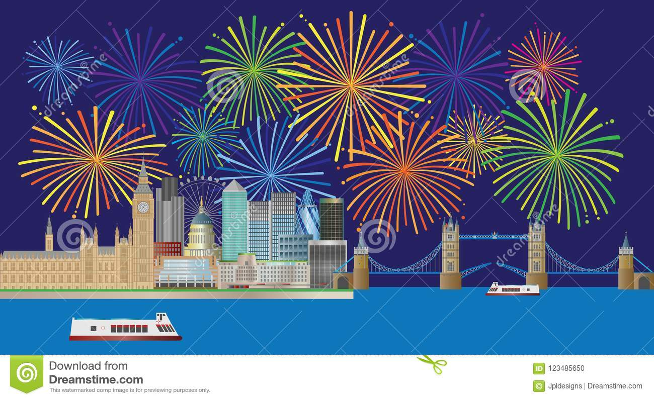 London Skyline Fireworks Panorama vector Illustration