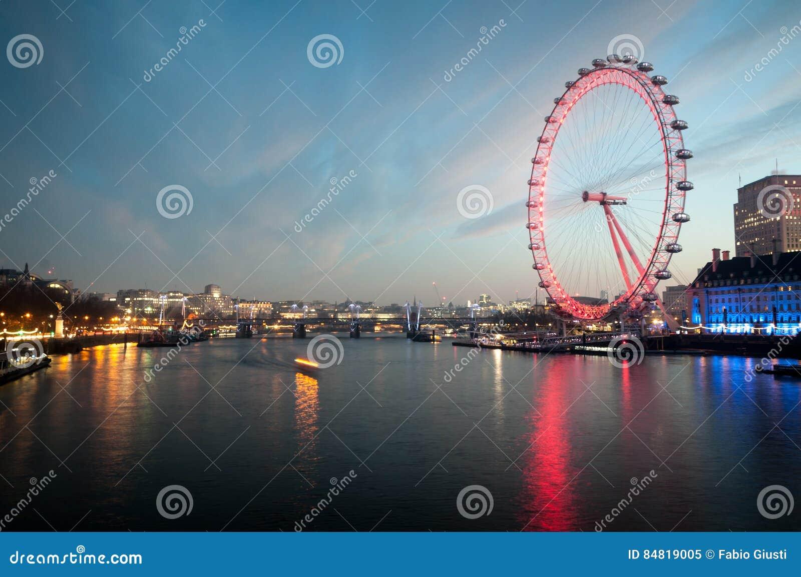 London Eye, Cityscape before sunrise from Westminster Bridge. London, UK