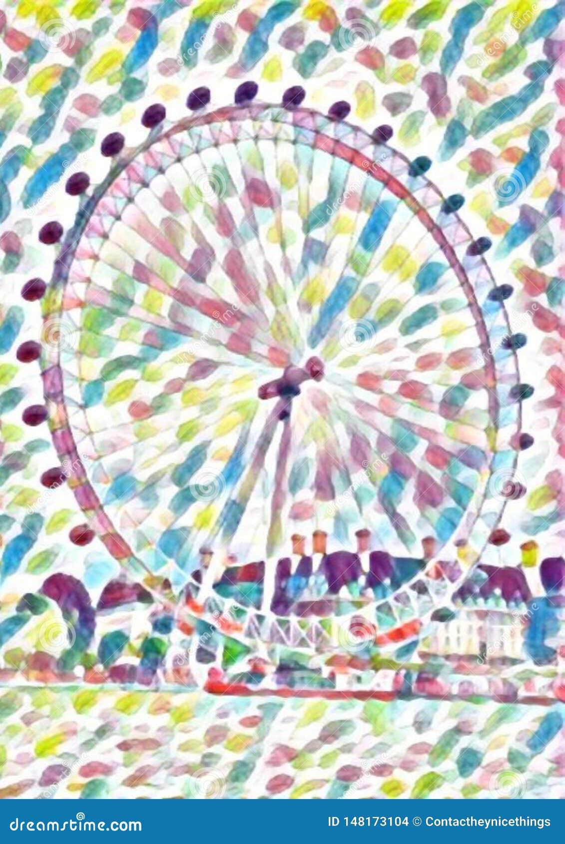 London eye ferris wheel watercolor
