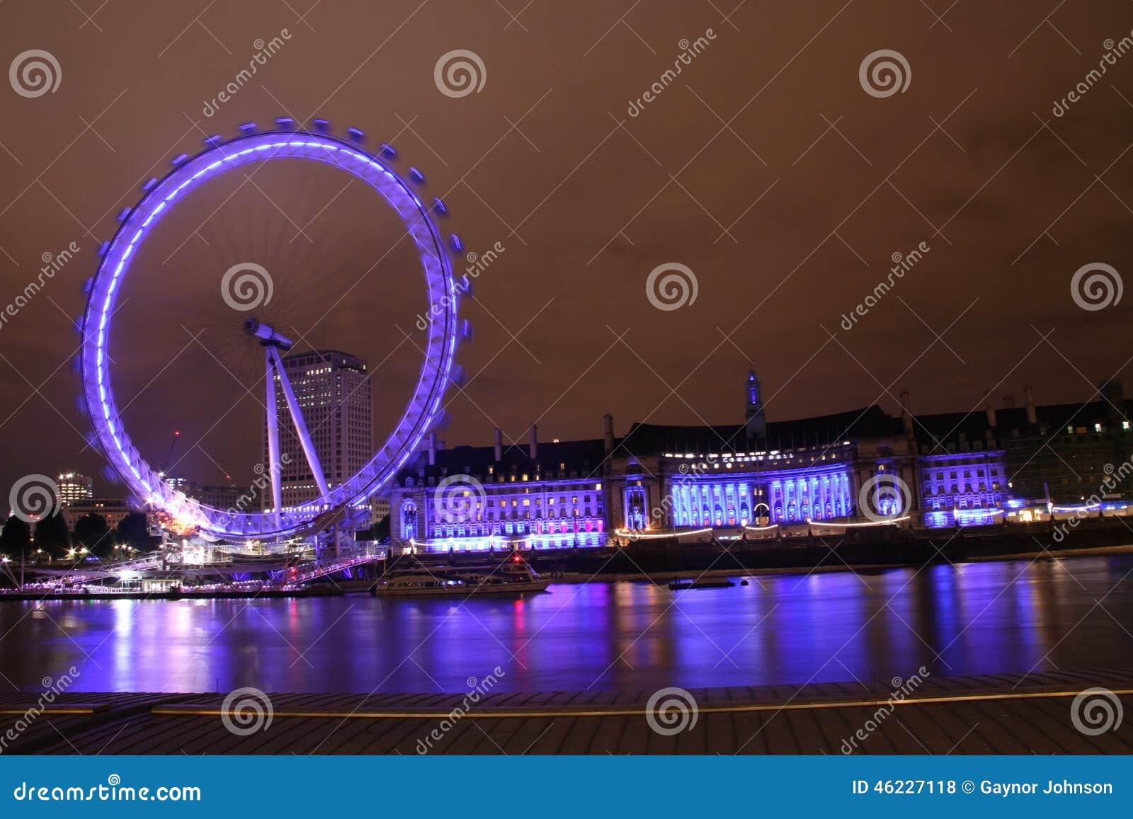The London Eye and Southbank at night