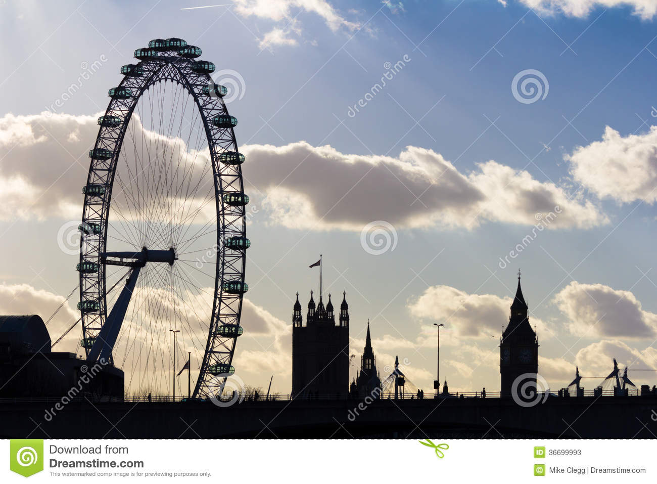 London Eye And Westminster Silhouette Editorial Stock Photo