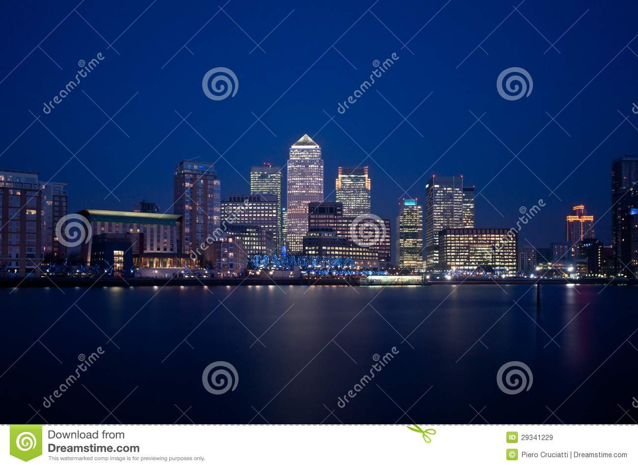 Download London Financial District Skyline 2013 At Night Stock Image    Image Of Dusk, Light