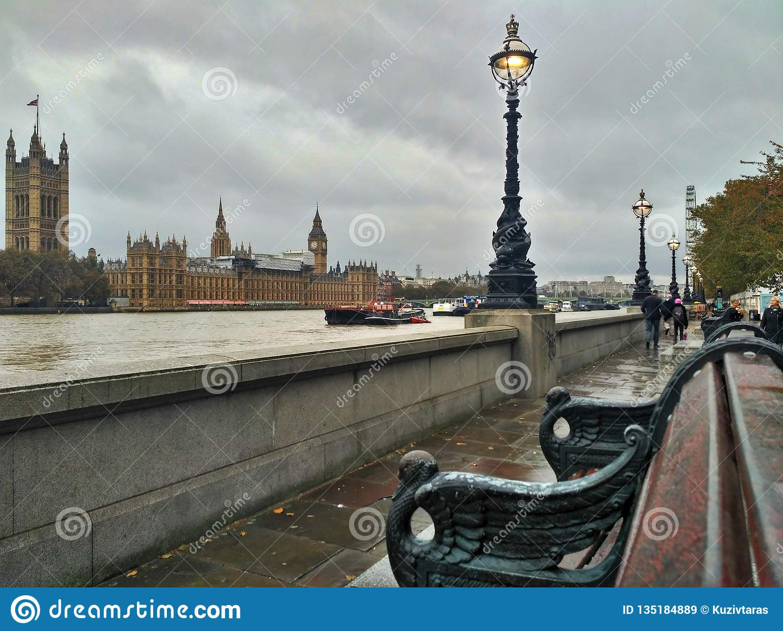 London / Great Britain - November 01 2016: Riverside. Panoramic view on the River Thames, London Eye, Palace of Westminster