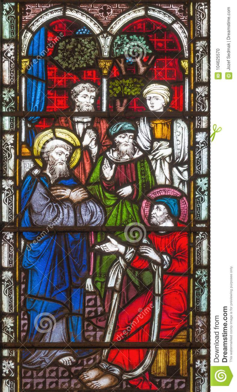 LONDON, GREAT BRITAIN - SEPTEMBER 19, 2017: The prophecy of Agabus warned Paul of his coming capture on Stained glass