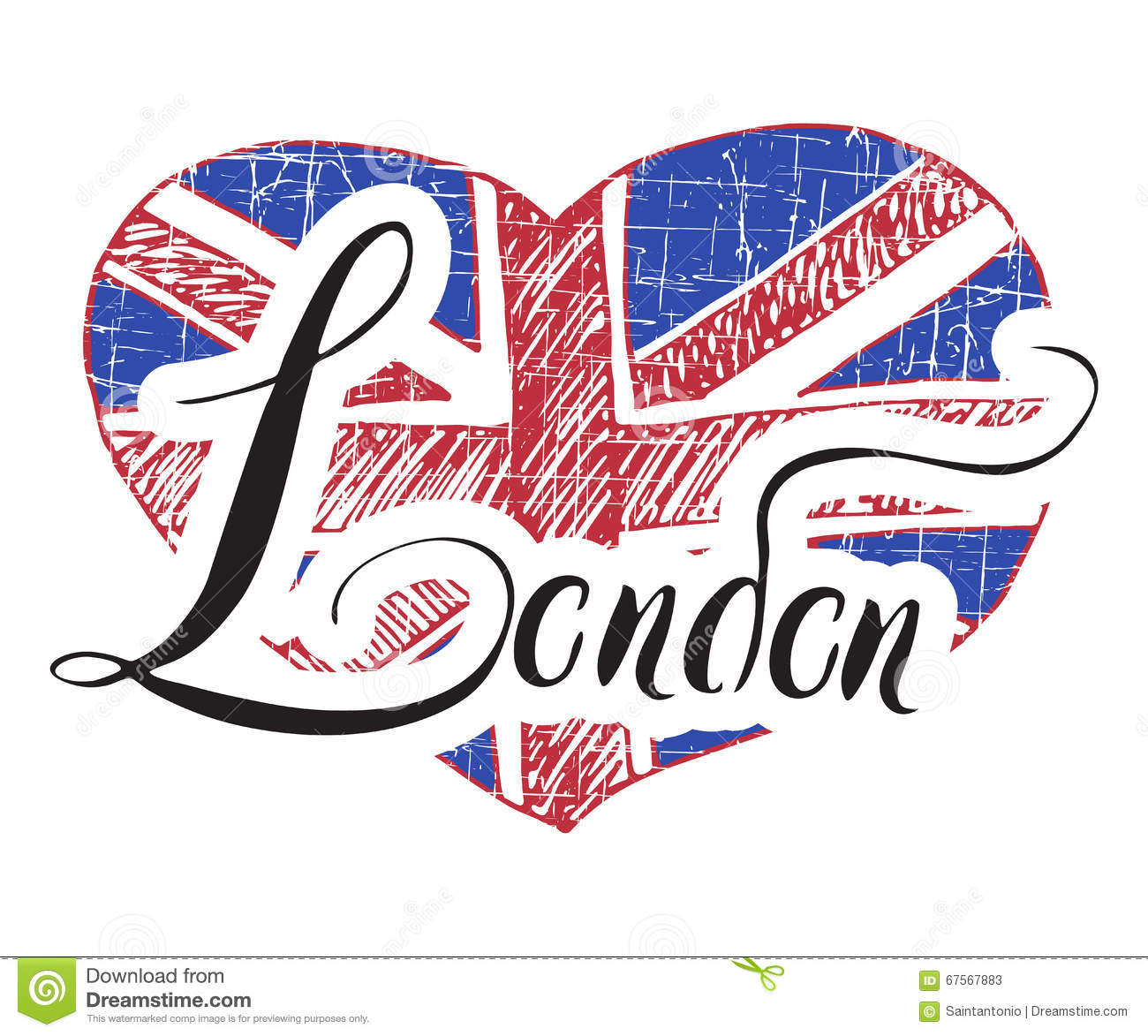 London Hand Lettering Sign With Grunge United Kingdom Flag In Shape