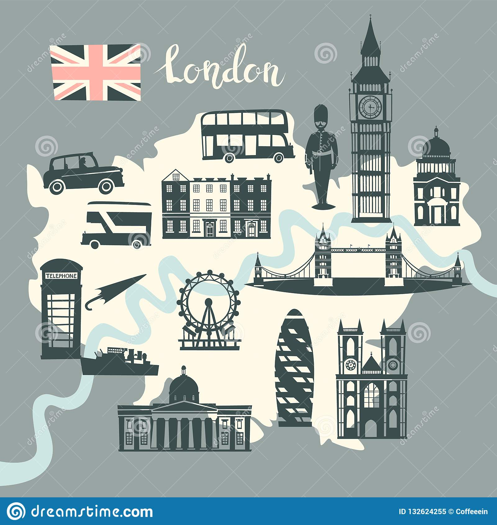 London Illustrated Map Vector. Skyline Silhouette Illustration, Gray on historical map of london, art map of london, painted map of london, business map of london, black map of london, color map of london, interactive map of london, simple map of london, watercolor of london, graphic map of london, travel map of london, childrens map of london,