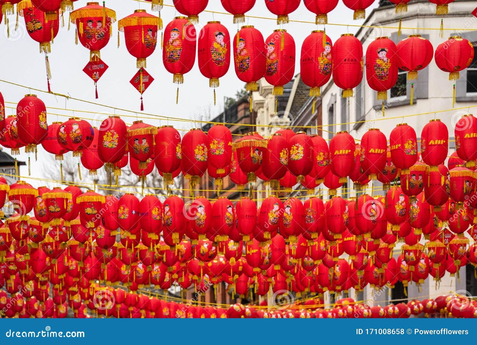 London January 26 2020 Chinese Paper Lanterns London Chinatown Chinese New Year Celebrations Editorial Stock Photo Image Of Chinatown Lamp 171008658