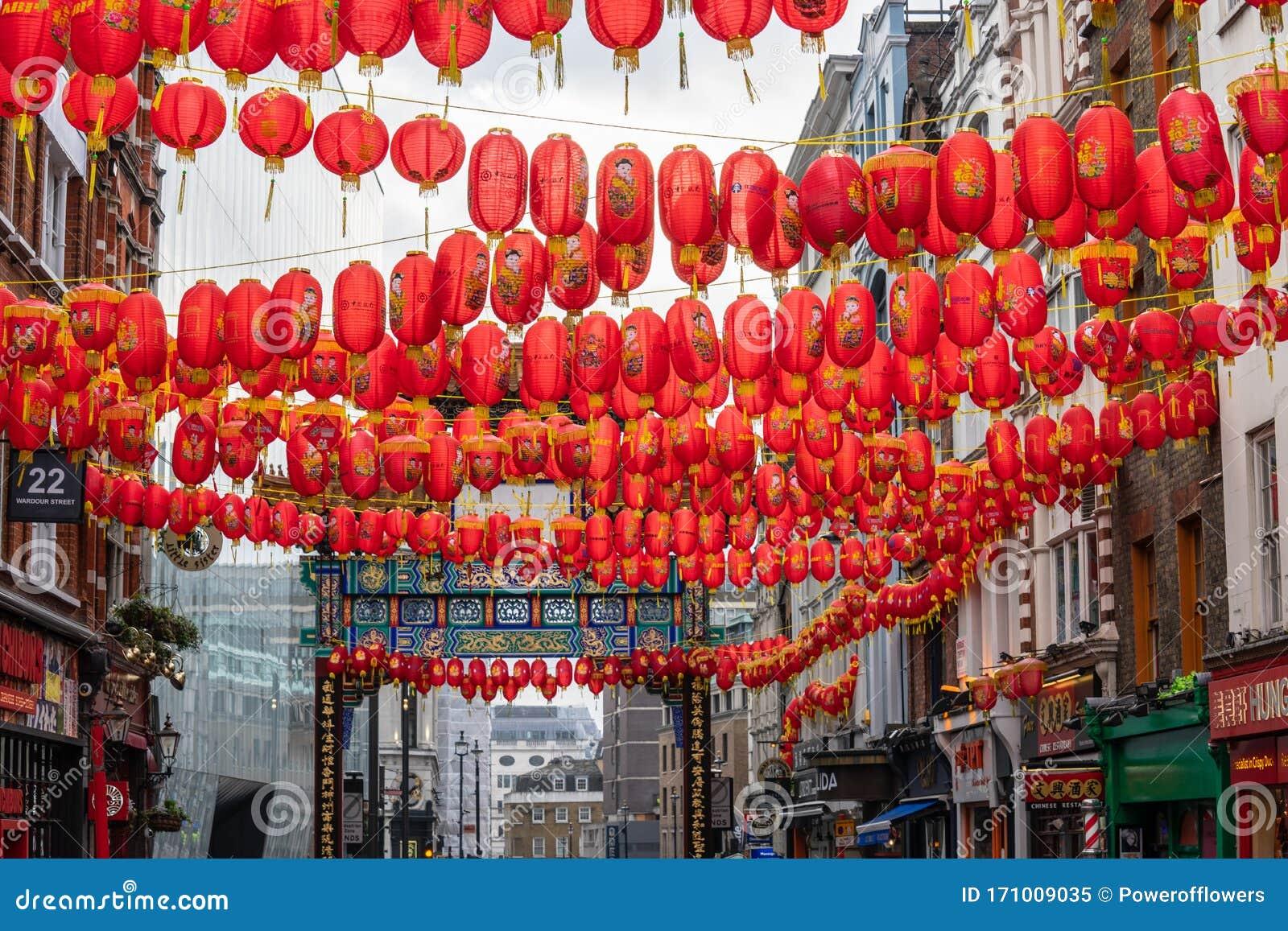 London January 26 2020 Chinese Paper Lanterns London Chinatown Chinese New Year Celebrations Editorial Image Image Of Lantern Background 171009035