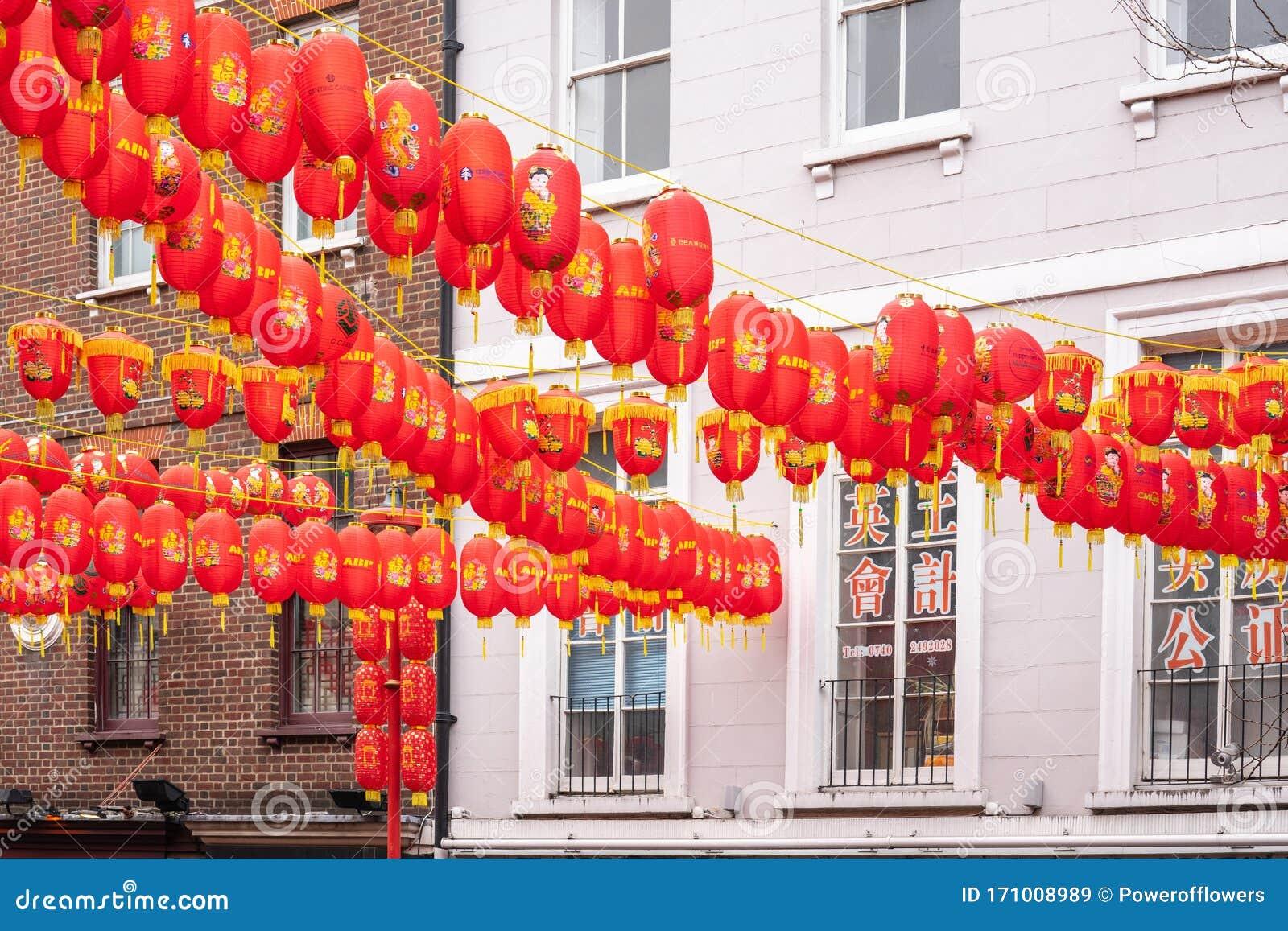 London January 26 2020 Chinese Paper Lanterns London Chinatown Chinese New Year Celebrations Editorial Stock Image Image Of Colorful China 171008989