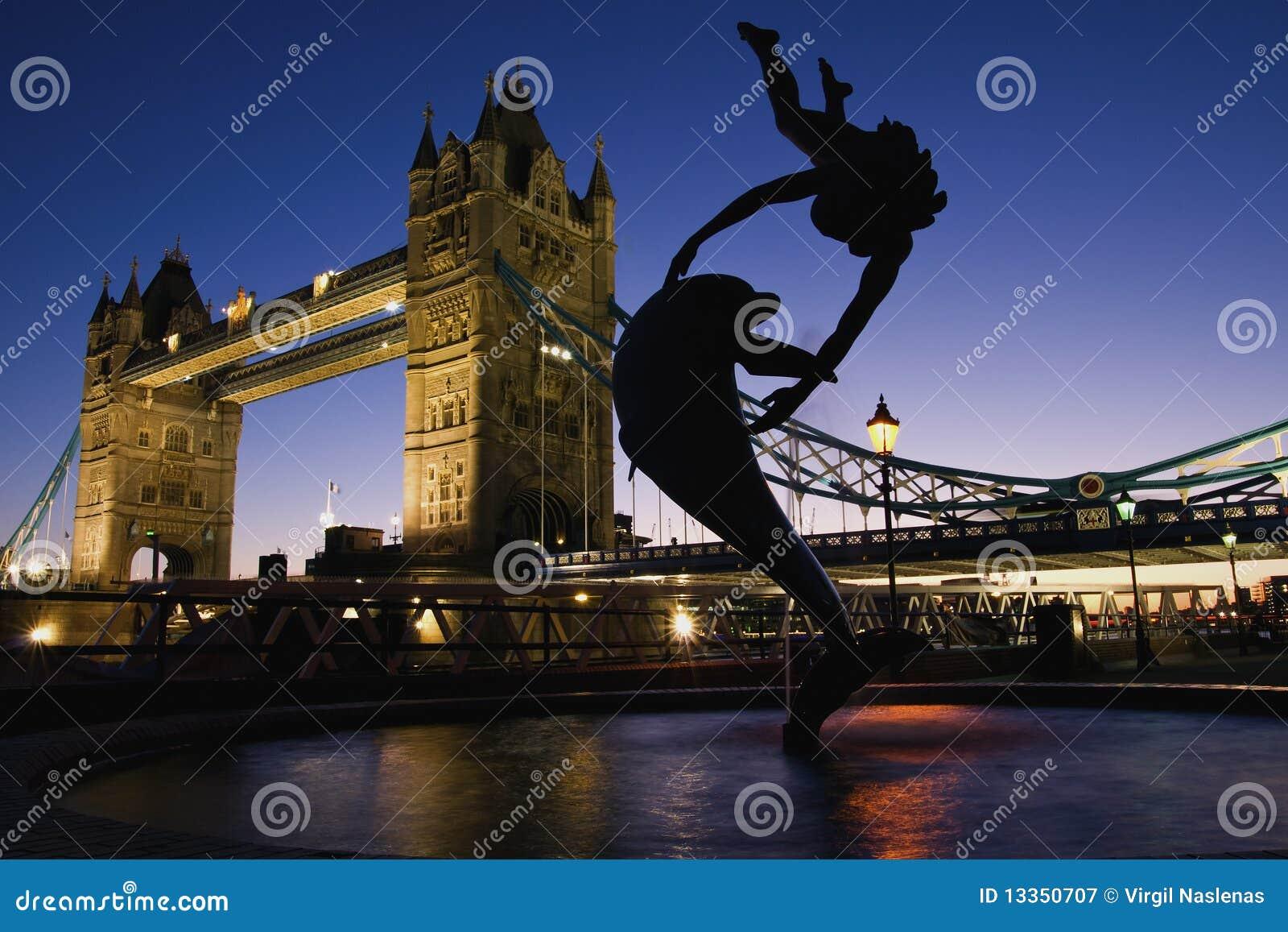 London-Kontrollturmbrücke gleich nach dem Sonnenuntergang