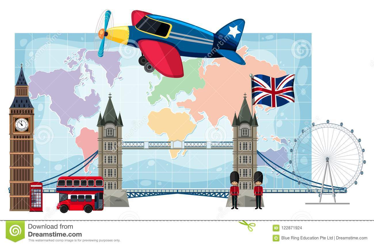 London Landmarks Map.London Landmarks Infront Of Map Stock Vector Illustration Of