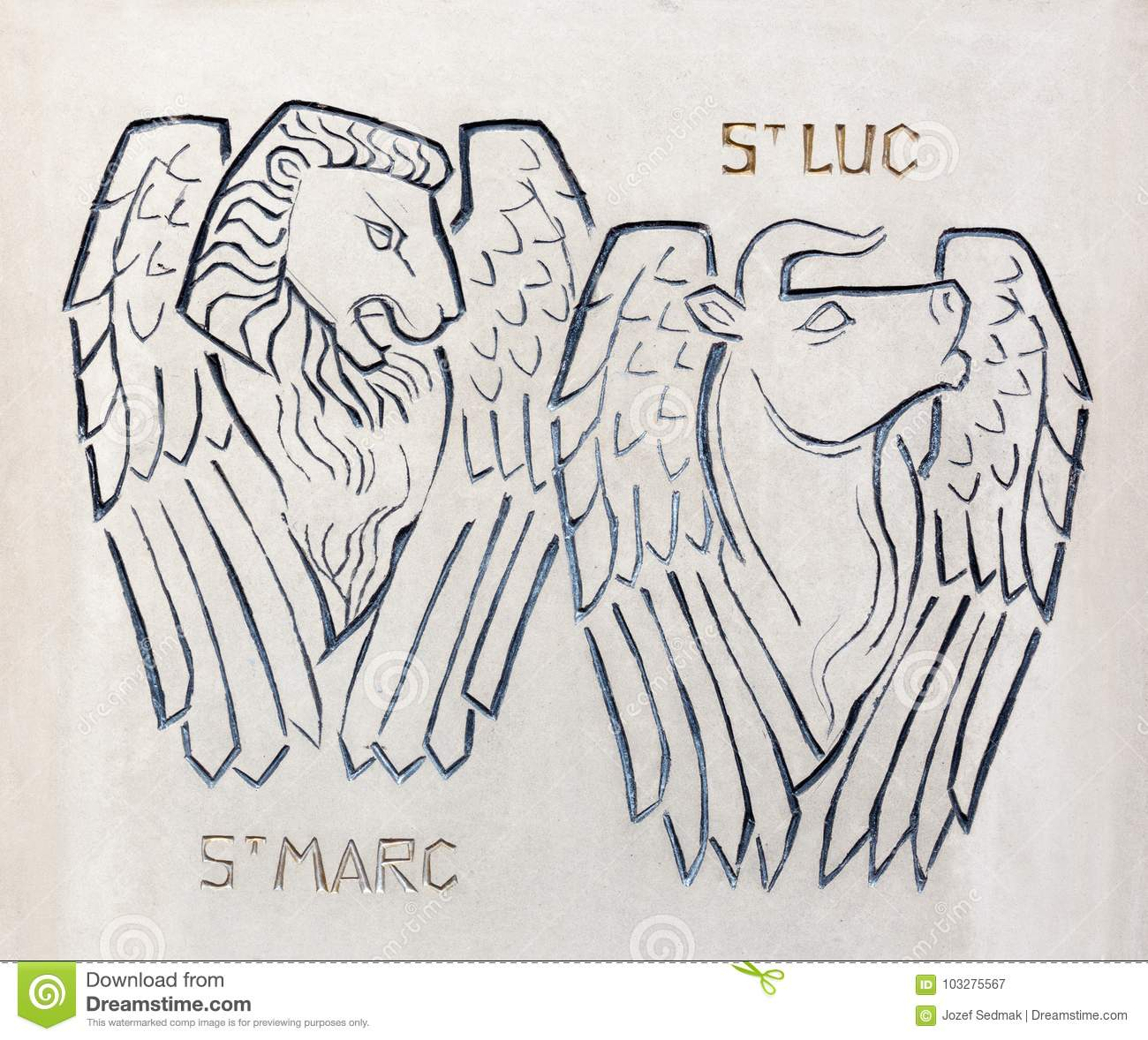 London Modern Relief Of St Luke And Mark The Evangelists Symbols