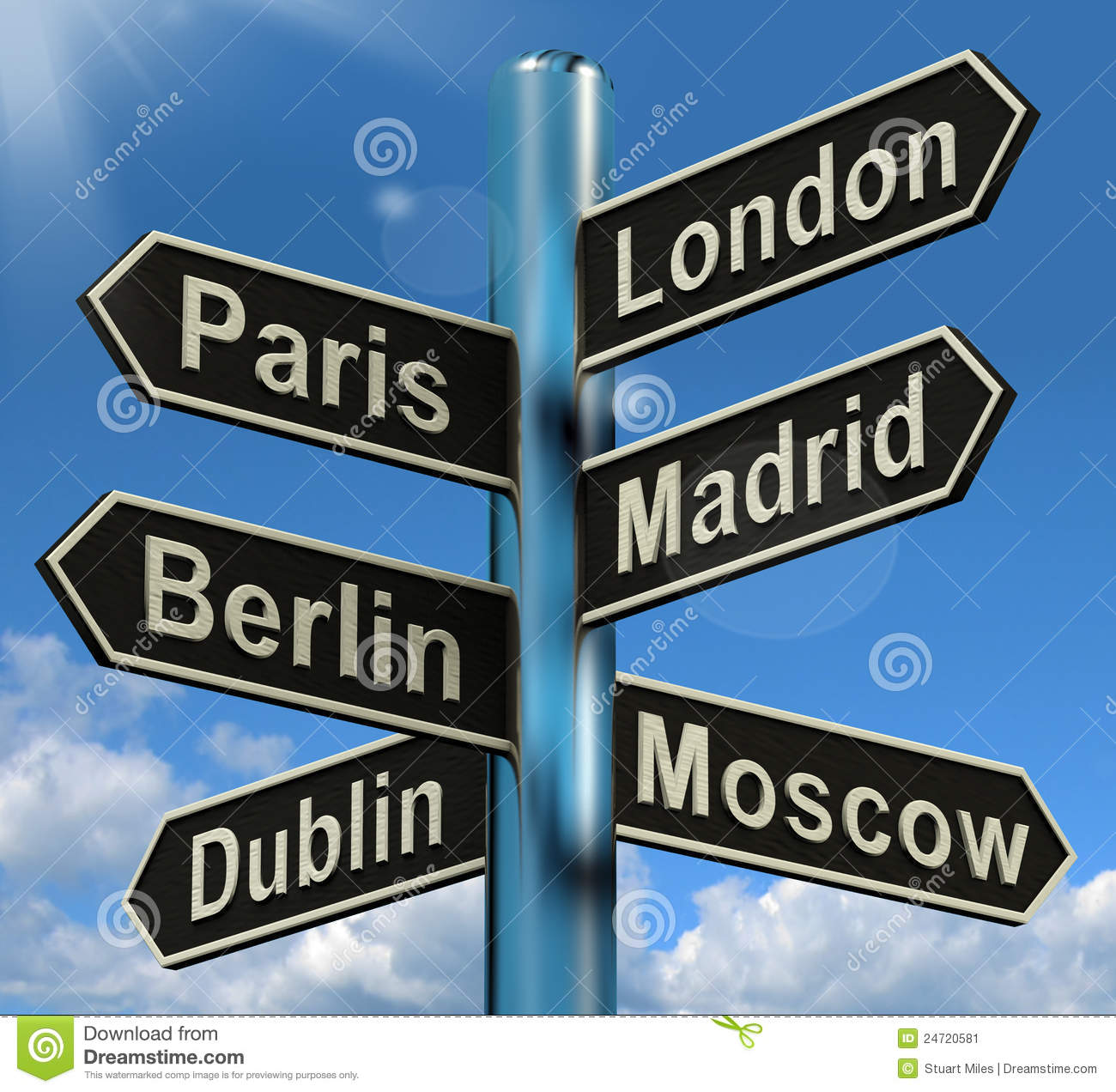 London Paris Madrid Berlin Signpost Showing Europe Travel Touris Stock ...