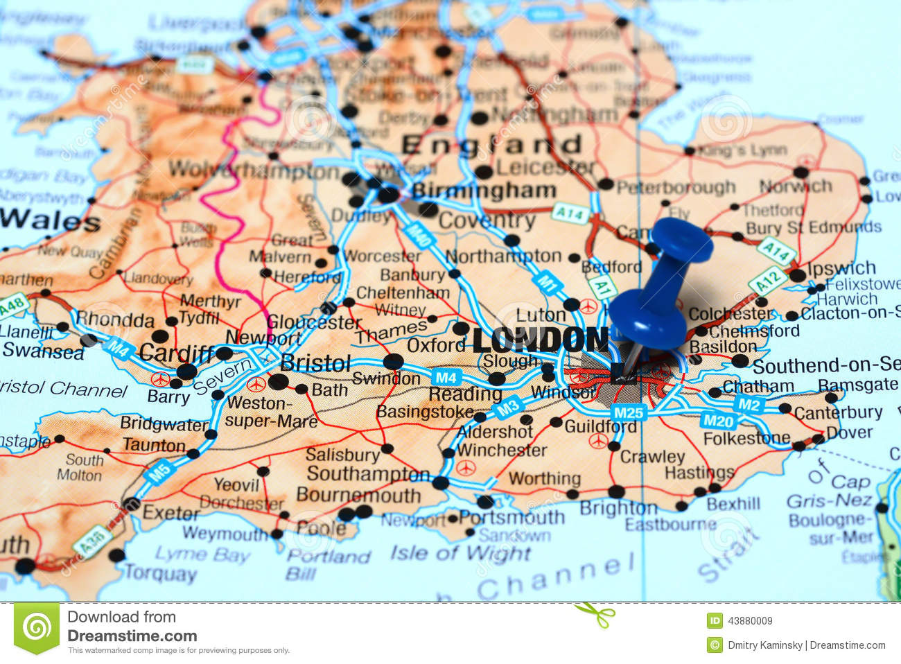 London Pinned On A Map Of Europe Stock Image Image Of Learning