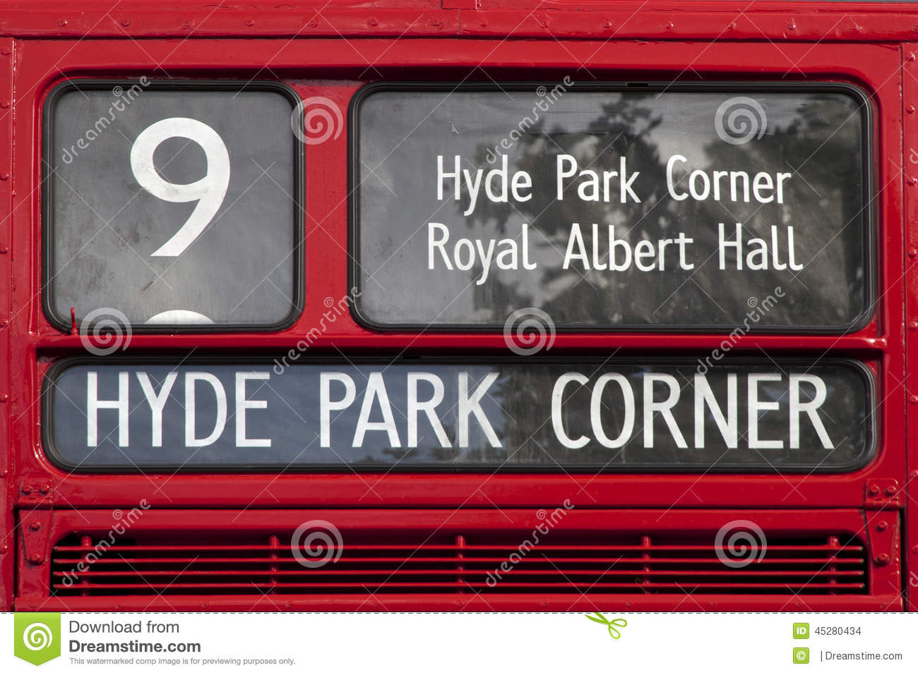 london red bus sign hyde park corner stock photo