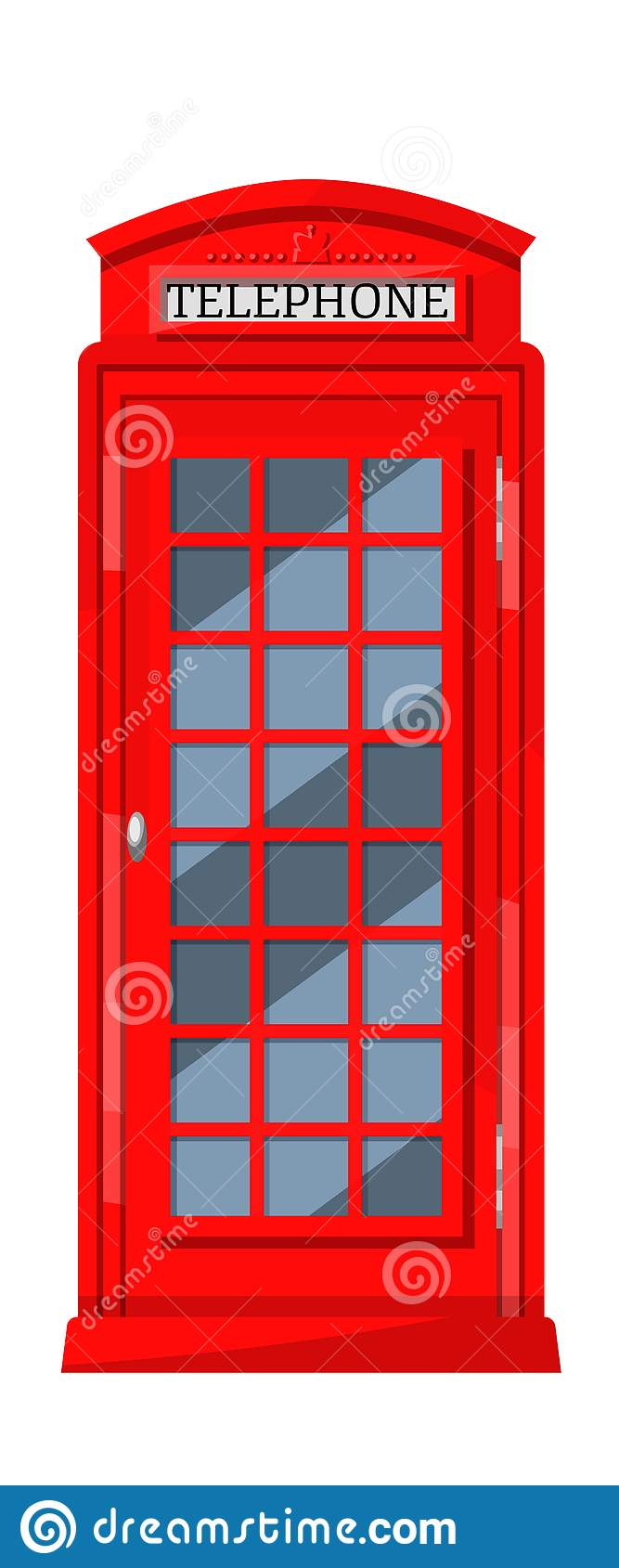 London red telephone booth with payphones. Cabin booth, communication device.