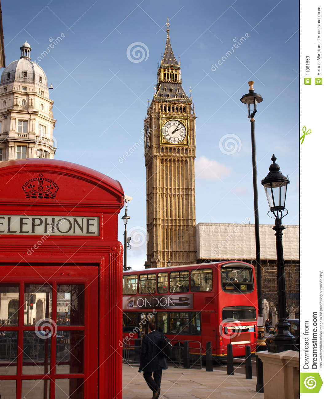 London Scene with Big Ben, London Double Decker Bus and Red Telephone ...