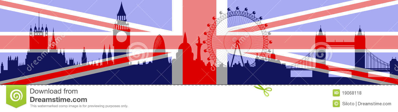 Download London Skyline With Flag