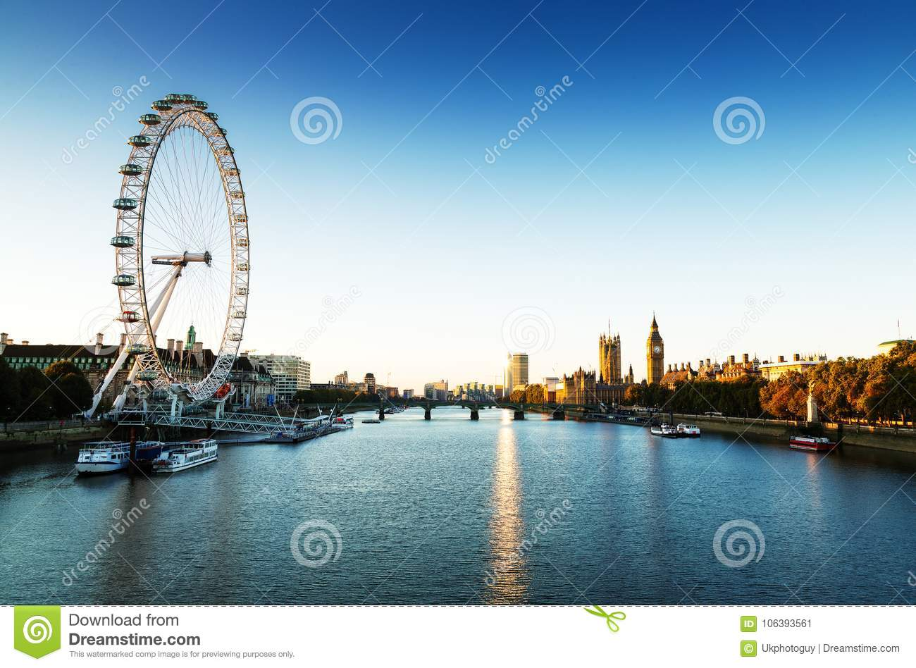 London Skyline landscape at Sunrise with Big Ben, Palace of Westminster, London Eye, Westminster Bridge, River Thames, London, Eng