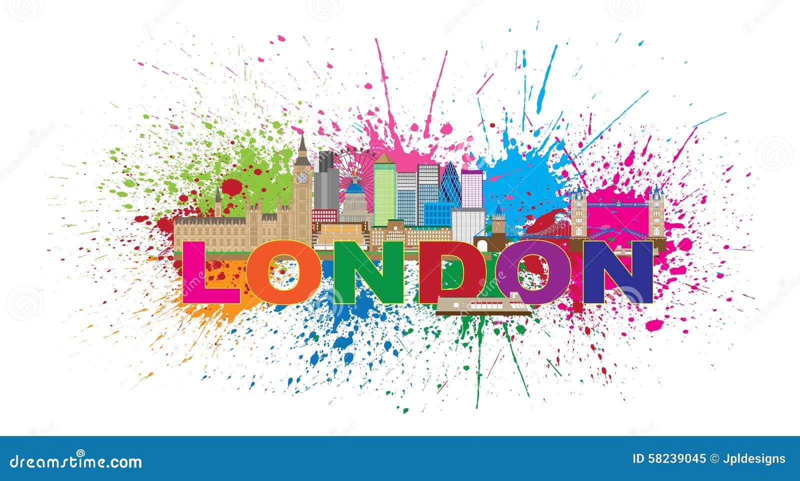 london skyline paint splatter color text vector illustration stock vector