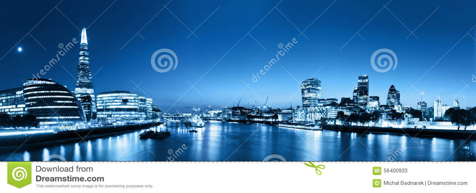 London skyline panorama at night, England the UK. River Thames,